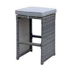 6 Piece Patio Bar Stool In Aluminum Wicker Frame And Padded Fabric Seat, Gray