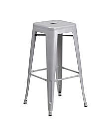 30'' High Backless Metal Indoor-Outdoor Barstool with Square Seat
