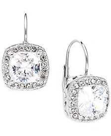 Danori Earrings, Silver-Tone Framed Cushion Cut Cubic Zirconia Leverback Earrings (6 ct. t.w.)