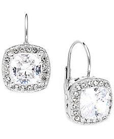 Danori Earrings, Silver-Tone Framed Cushion Cut Cubic Zirconia Leverback Earrings (6 ct. t.w.)