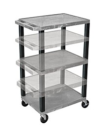 "42"" Multi-Height Three Shelves AV Electric Cart - Black Legs, Purple"