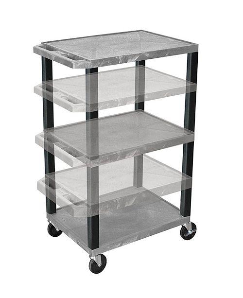 "Clickhere2shop 42"" Multi-Height Three Shelves AV Electric Cart - Black Legs, Purple"