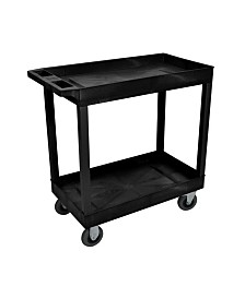 """Clickhere2shop 32"""" x 18"""" Two Tub Shelf Utility Cart with 5"""" Casters - Black"""