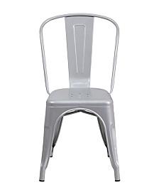 Offex Metal Indoor-Outdoor Stackable Bistro Style Chair