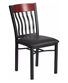 Offex Vertical Back Black Metal and Cherry Wood Restaurant Chair with Black Vinyl Seat