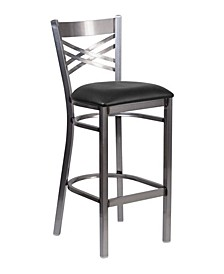 "Clear Coated ""X"" Back Metal Restaurant Barstool - Burgundy Vinyl Seat"