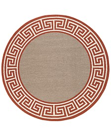 "Alfresco ALF-9628 Rust 8'9"" Round Area Rug, Indoor/Outdoor"