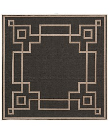 "Surya Alfresco ALF-9630 Black 8'9"" Square Area Rug, Indoor/Outdoor"
