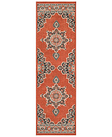 "Surya Alfresco ALF-9672 Burnt Orange 2'3"" x 7'9"" Runner Area Rug"