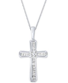 Diamond Baguette Cross Adjustable Pendant Necklace (1/5 ct. t.w) in 10k White Gold