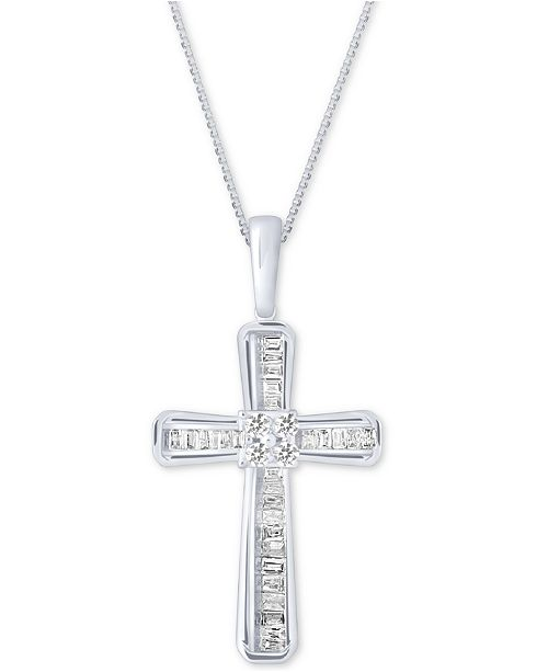 Macy's Diamond Baguette Cross Adjustable Pendant Necklace (1/5 ct. t.w) in 10k White Gold
