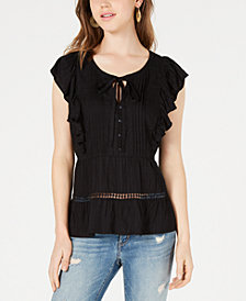 American Rag Juniors' Pintucked Ruffle Top, Created for Macy's