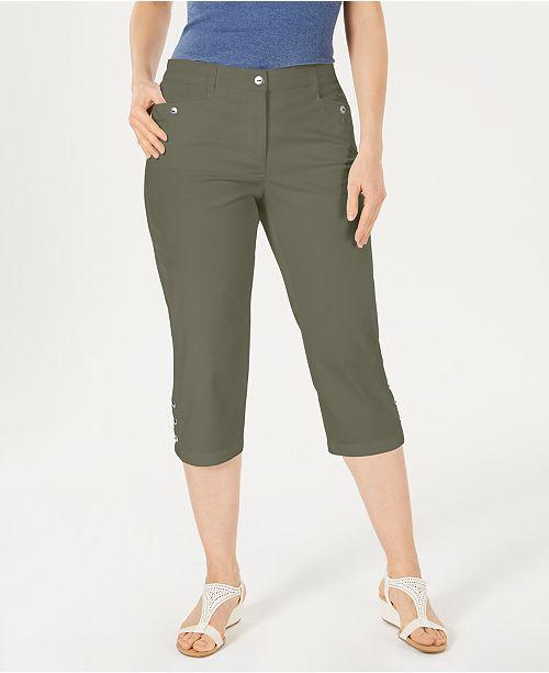 Karen Scott Petites Button-Hem Capri Pants, Created for Macy's