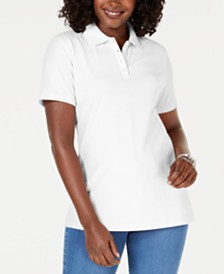Karen Scott Cotton Piqué Polo Top, Created for Macy's