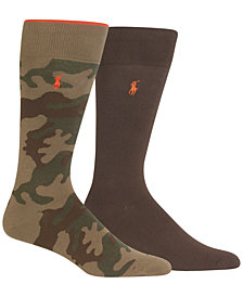 Polo Ralph Lauren Men's Tipped Camo Crew Socks, 2-Pk.