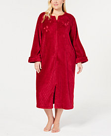 Miss Elaine Plus Size Fleece Long Zip Robe