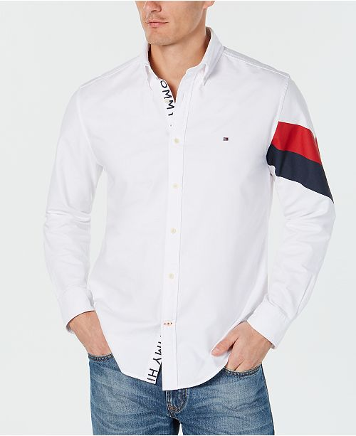 0e210e3d ... Tommy Hilfiger Men's Welles Custom-Fit Printed Oxford Shirt, Created  for Macy's ...