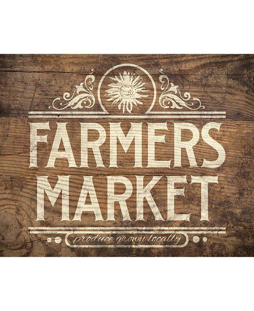 "Creative Gallery Vintage Farmer'S Market Sign On Wood Pattern 24"" X 36"" Canvas Wall Art Print"
