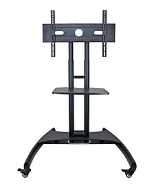 Adjustable Height Rolling Flat Panel Cart with Accessory Shelf