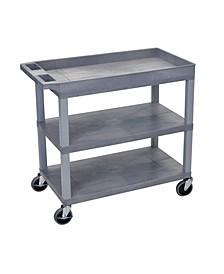 "32"" x 18"" Two Flat/One Tub Shelves Cart - Gray Shelves/Gray Legs OF-EC122-G"
