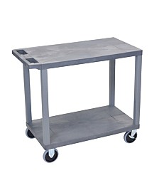 "Clickhere2shop 32"" x 18"" Two Flat Shelves Utility Cart - Gray"