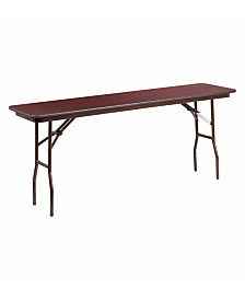 Offex 18'' x 72'' Rectangular Mahogany Melamine Laminate Folding Training Table