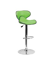 Offex Contemporary Cozy Mid-Back Yellow Vinyl Adjustable Height Bar Stool with Chrome Base