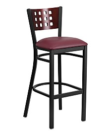 Clickhere2shop Decorative Cut - Out Back Metal Restaurant Bar Stool with Mahogany Wood Back and Vinyl Seat
