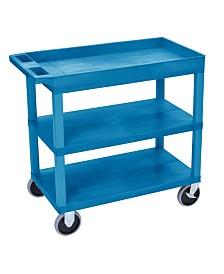 "Clickhere2shop 32"" x 18"" Two Flat/One Tub Shelves Utility Cart - Blue"
