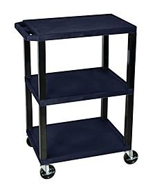 OF-WT34ZS-B - Multipurpose Utility A/V Cart 3 Shelves - Black Legs