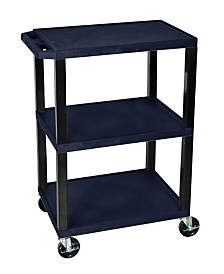 Offex OF-WT34ZS-B - Multipurpose Utility A/V Cart 3 Shelves - Black Legs