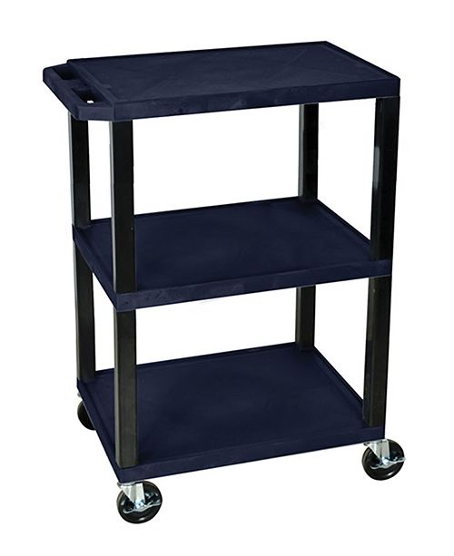 Clickhere2shop OF-WT34ZS-B - Multipurpose Utility A/V Cart 3 Shelves - Black Legs