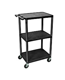 "Offex 42""H 3 Shelves Multipurpose Utility A/V Carts - Black"
