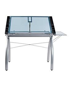 Futura Craft Station with Folding Shelf Glass - Black/Clear