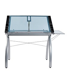 Offex Futura Craft Station with Folding Shelf Glass - Black/Clear