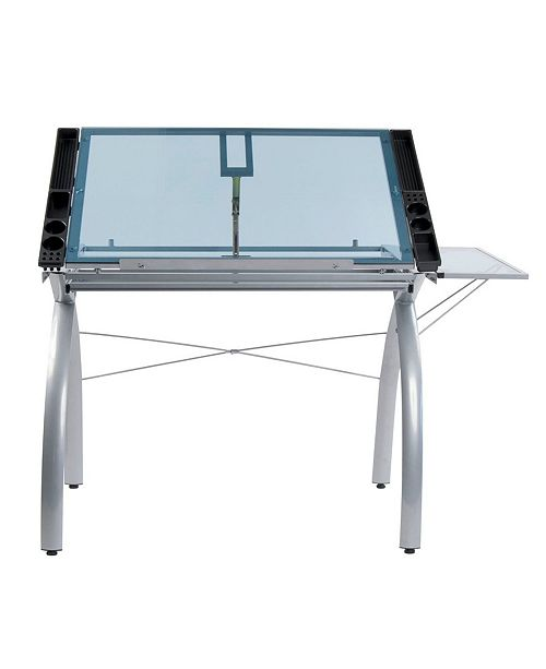 Clickhere2shop Futura Craft Station with Folding Shelf Glass - Black/Clear
