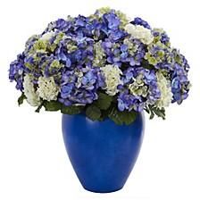 Hydrangea Artificial Plant in Blue Planter