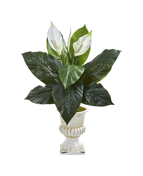 Nearly Natural Spathiphyllum Artificial Plant in White Urn