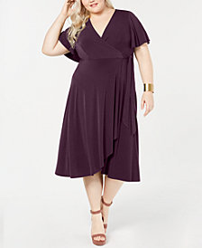 Soprano Trendy Plus Size Surplice Wrap Midi Dress