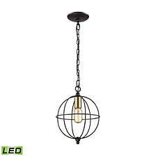 Loftin 1 Light Pendant in Oil Rubbed Bronze with Satin Brass Accents