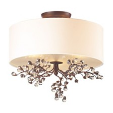 3 light semi flush in Antique Darkwood