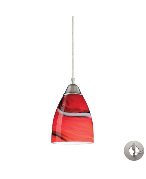 ELK Lighting Pierra 1 Light Pendant in Satin Nickel and Candy Glass - Includes Adapter Kit