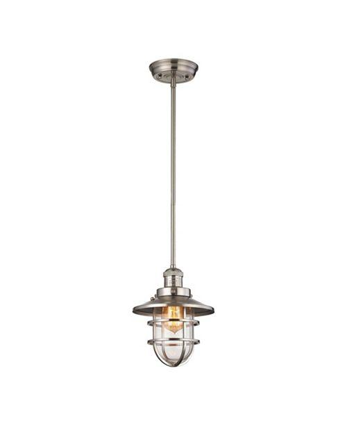 ELK Lighting Seaport 1 Light Pendant in Satin Nickel