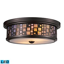 Tiffany 2-Light Flush Mount in Oiled Bronze - LED, 800 Lumens (1600 Lumens Total) with Full Scale Dimming Range
