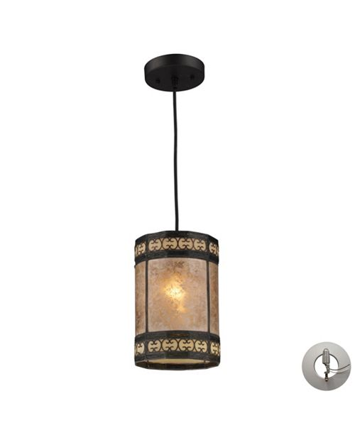 ELK Lighting Mica Filigree 1 Light Pendant in Tiffany Bronze and Tan Mica - Includes Adapter Kit