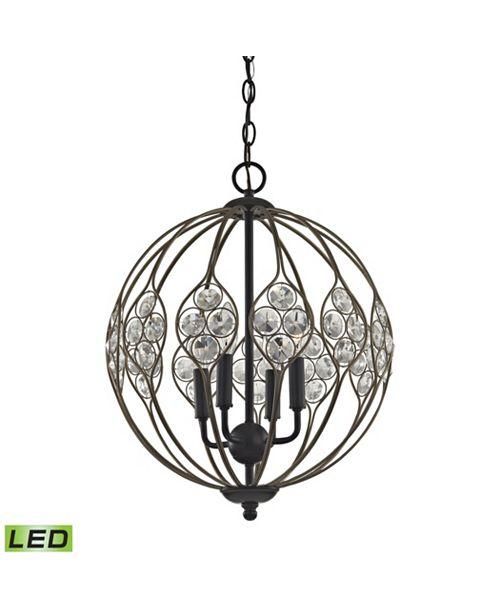 ELK Lighting Crystal Web 4 Light Chandelier in Bronze Gold and Matte Black with Clear Crystal