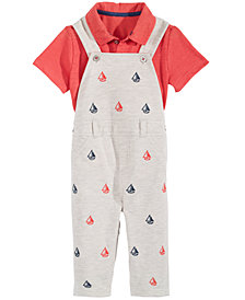 First Impressions Baby Boys 2-Pc. Sailboat-Printed Overalls & Polo Shirt Set, Created for Macy's