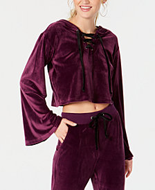 Material Girl Juniors' Cropped Velour Hoodie, Created for Macy's
