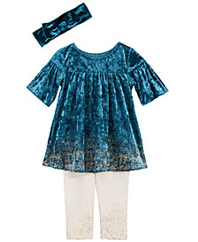 First Impressions Baby Girls Sparkle Tunic, Headband & Leggings Separates, Created by Macy's