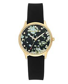 Woman's 1074FLBK Silicon Strap Watch